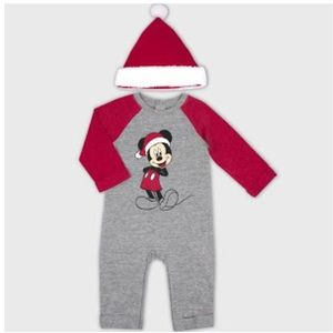 2pc Mickey Mouse Romper and Hat Set - Gray 0-3M